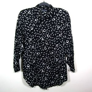 80s black & white abstract print button up shirt